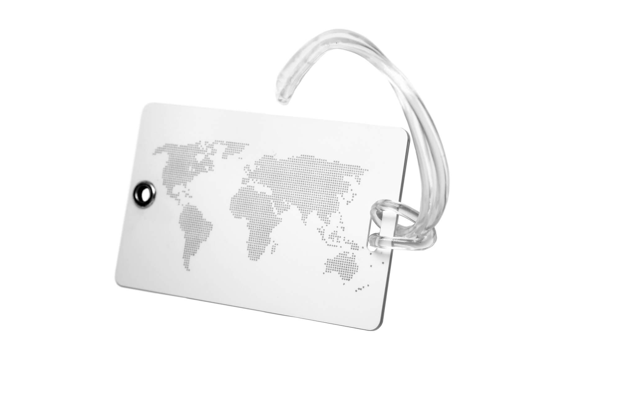 Kofferanhänger und Traveltags mit Weltkarte bedruckt mit Silikonbändchen
