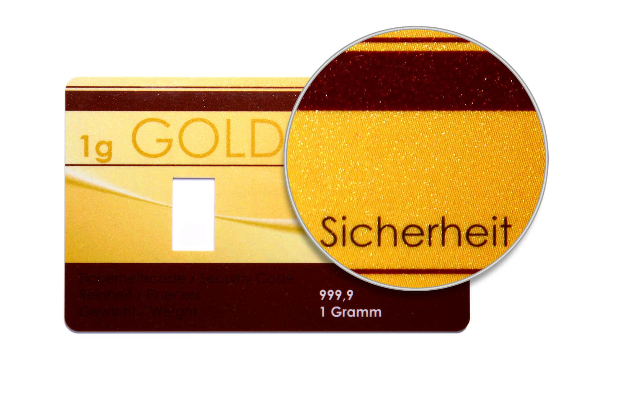 Detail einer Goldkarte im Metallic-Druck