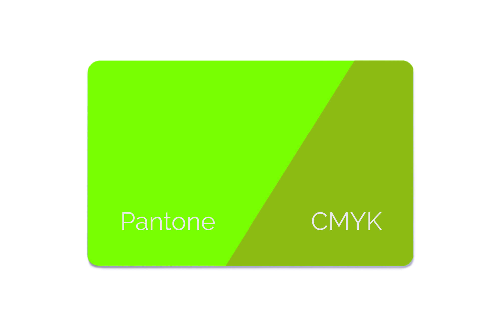 Musterkarte mit Pantonefarben und CMYK im Vergleich