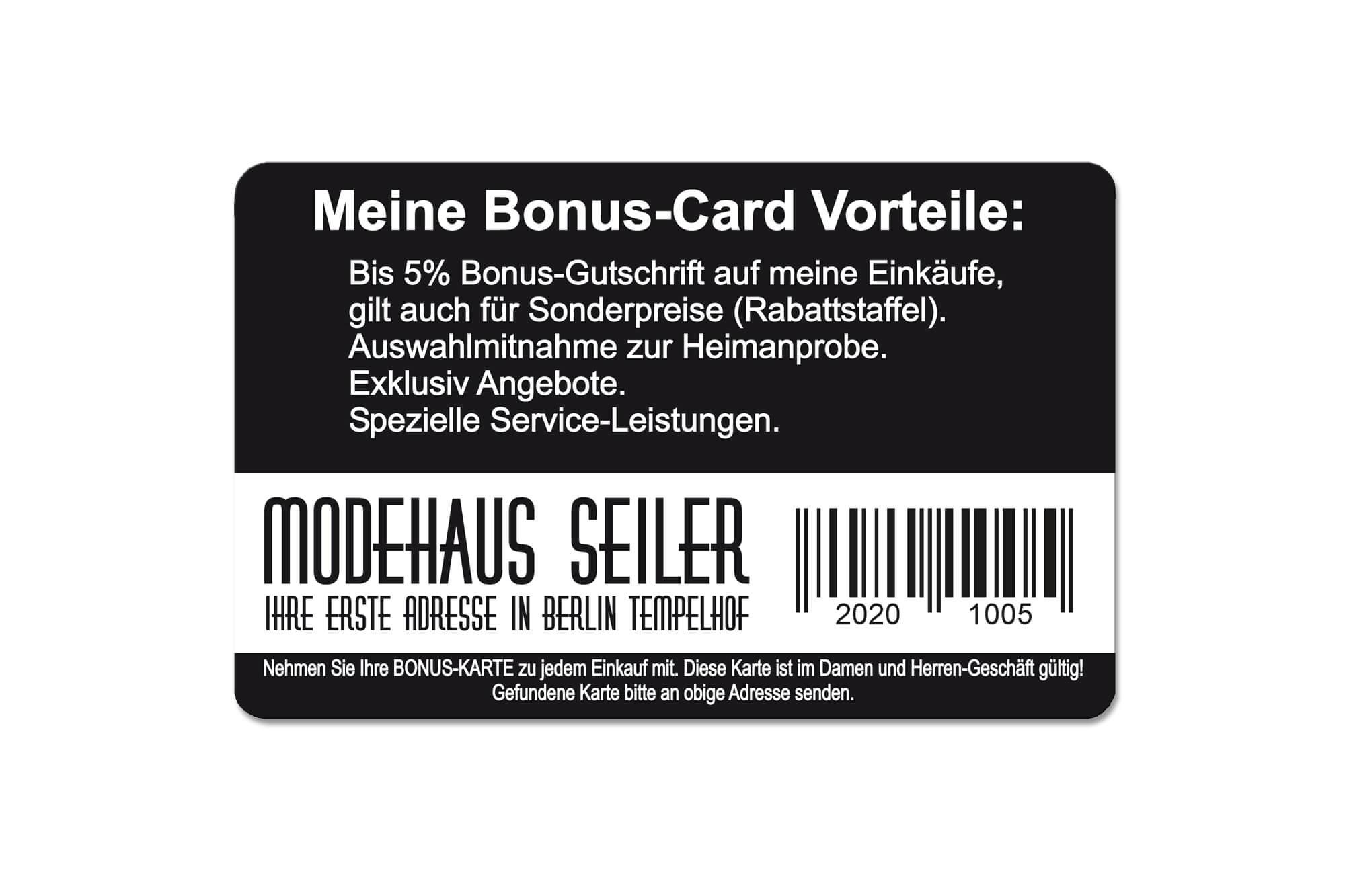 Bonuskarten Beispiel Modehaus
