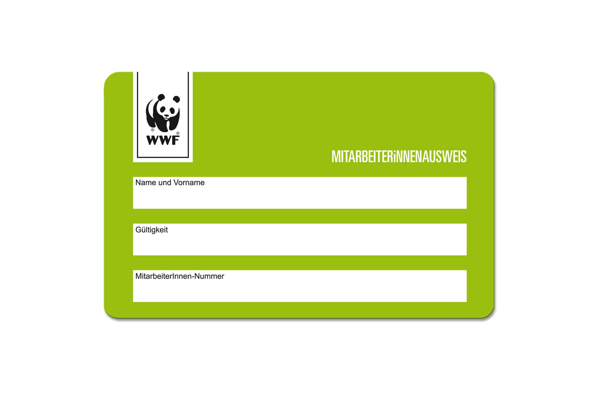 Mitarbeiterausweise Beispiel WWF