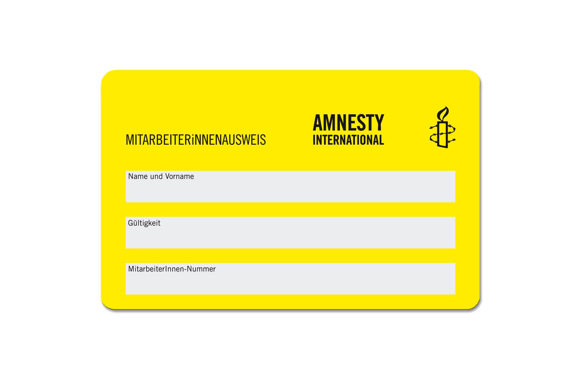 Mitarbeiterausweise Beispiel Amnesty